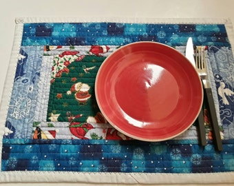 Eco Friendly Placements, Set Of 4, Christmas Placemats, Reversible to Thanksgiving