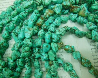 Turquoise freeform nugget beads, size about 12-15mm, 15.5 inch