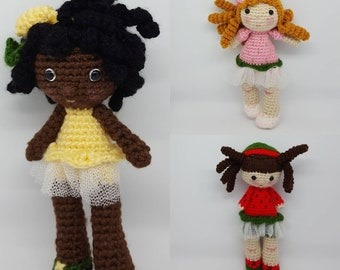 Amigurumi Crochet Doll. Fruit Doll. Handmade doll. Toy Girls. Dolls for girls. Crochet Doll. Decorating Girls