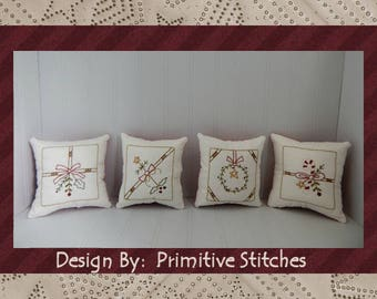 Christmas Package Mini Collection-Primitive Stitchery  E-PATTERN by Primitive Stitches-Instant Download