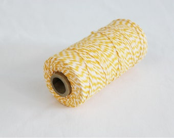 Yellow and White Bakers Twine - 10 yards