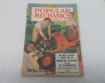 Popular Mechanics July 1951- Build a Midget Racer, HydraGlide Harley Davidson Ad, 1951 Plymouth - Interesting Articles and Vintage Ads