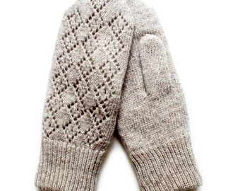 Women's thick double knitted lambswool Mittens/Gray/black/white/gloves/lace