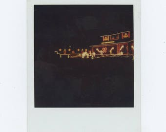 Christmas Lights: Vintage Polaroid SX-70 Snapshot Photo [81646]