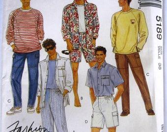 Mens Shirt, Top and Pants or Shorts Size 38 McCalls Pattern 5189 UNCUT