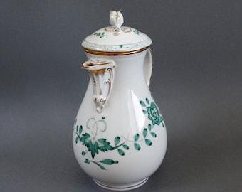 Meissen  Crossed Swords - Green Indian - Rare Porcelain's Teapot / Pot - Excellent Condition - Vintage German China Porzellan - Gold Rims