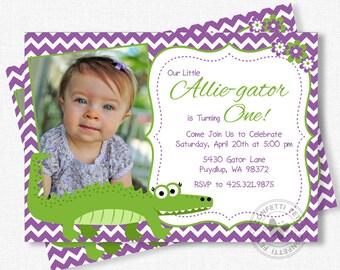 Alligator Birthday Invitation, Girl Birthday Invitation, Purple Alligator Invitation, Photo Invitation, Gator Party Invite