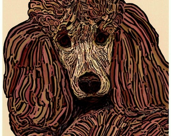"""Apricot Standard Poodle Dog Original Art Print Signed and numbered 8"""" x 10"""""""