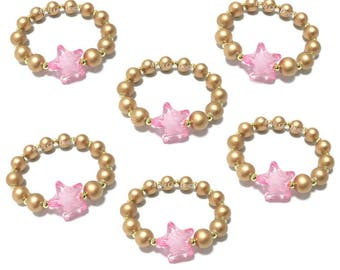 6 Small Beaded Pink Star Bracelet Party Favors - Girls Pink and Gold Bracelets - Kids Twinkle Star Bracelets - Goodie Bag Bracelets - Stars