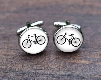 Cuff link, Bike  bicycle cufflinks, Gift for Cyclist, Cyclist Bicycle Jewelry, Bike Triatholon Wedding Groom and Bride Name  sports
