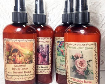 Room spray, assorted scents, room fresheners, fragrance spray, 4 oz, scented spray, Moeggenborg Sugar Bush,