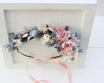 Blush pink pale blue flower crown Pastel Romantic wedding Bridal floral headband Hair wreath Maternity crown Bridesmaid headpiaece