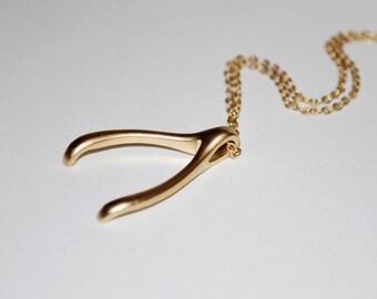 Gold wish bone necklace, wishbone, matte gold wish bone, gift