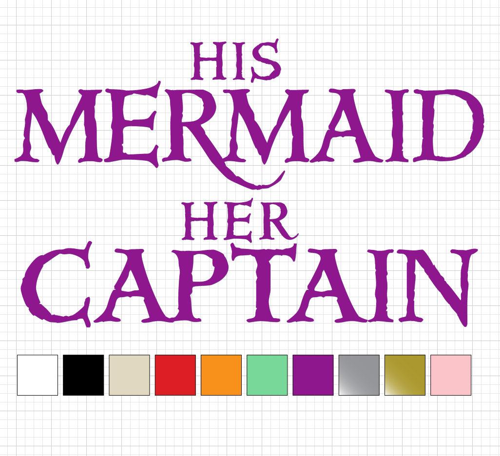 His Mermaid Her Captain Custom Vinyl Sticker Set Chair
