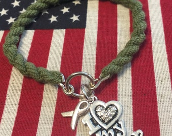 Boot Band Bracelet; Crystal Heart My Soldier, deployment ribbon