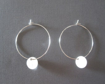 White Gold Disc Hoop Earrings