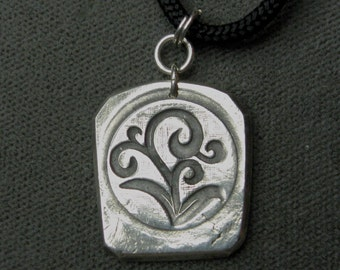 Fine Silver Pendant Botanical Design One of a Kind Pendant by BeadJewelled PMC Pendant