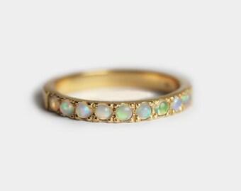 Opal Cabochon Ring, Opal Wedding Band, Opal Wedding Ring, Pave Opal Ring, 18k Gold Wedding Band