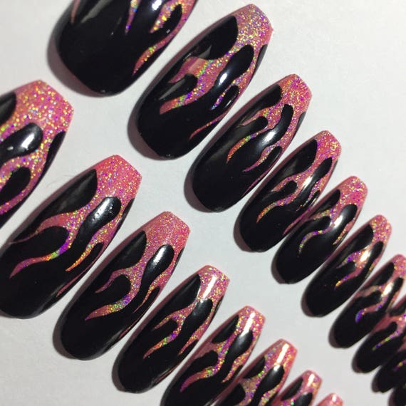 Extra Long Ballerina /Coffin Style False Nails With Pink Holographic Flames. by Etsy