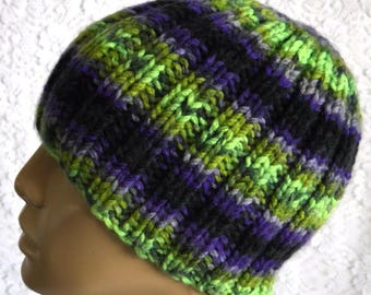 Purple green black beanie hat, skull cap, ribbed beanie, mens womens knit hat, toque, beanie hat, winter hat, striped hat, knit beanie hat
