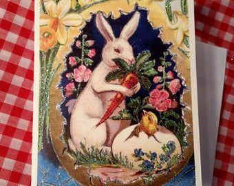 Easter Card ~ Hand-Glittered Easter Rabbit in Egg with Flowers and Chick, Old-Fashioned Card with Envelope, Vintage Style, Nostalgic Easter