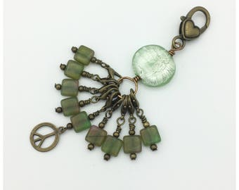 Snag free removable stitch marker set of 9 in bronze and green with beaded stitch mark holder-gift for knitters-crochet jewelry-