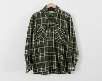 vintage men's wool plaid shirt,  1970s JCPenney shirt