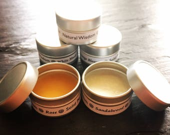 Solid Perfume SAMPLE by Natural Wisdom. Natural Perfume. Vegan Perfume. Alcohol free. Organic ingredients. Wedding favours