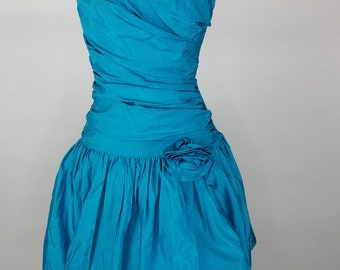 Vintage Positively Ellyn Prom Dress Size 6 Turquoise Bubble Strapless Drop Waist