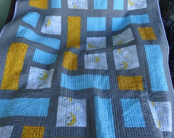 Modern Baby Quilt, Crib Quilt - To The Moon & Back - Quiltsy Handmade