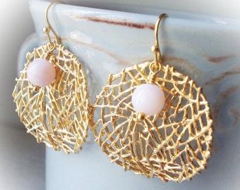 Natural Pink Opal drop earrings Peruvian opal gemstone rose dangle gold mesh net hoop earrings for women stone bead organic boho jewelry