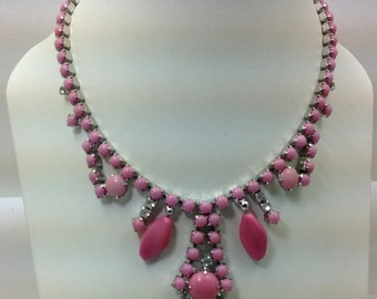 Pink rhinestone vintage necklace
