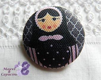 Fabric button, matruschka, 0.78 in / 20 mm