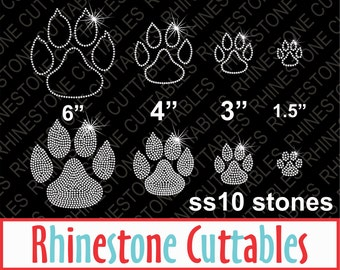 Rhinestone Paw Print SVG, DXF, EPS, Rhinstone template, Digital Cut File