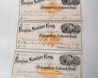1882 Kenton Savings Bank Checks, Set of three Antique Bank Drafts, Ephemera