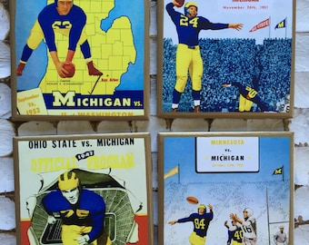 COASTERS! University of Michigan throwback football program cover coasters with gold trim. GO BLUE!