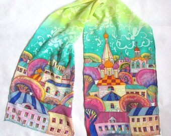 Hand Painted Silk Scarf, Russian Handmade Silk Scaf, Gift For Russian, Long silk scarf,Russian gifts,Green Scarf Hand Painted. Ready To Ship