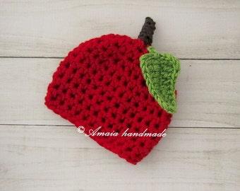 Baby apple hat, crochet apple hat, red apple hat, newborn apple hat, crochet baby hat, autumn hat, baby costume, newborn costume, halloween