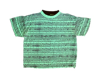 Allover Print 80s Neon Double Collar Slime Green Tribal Surf T-Shirt - M