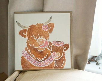 HIGHLAND COW and calf - cute Highland cattle printed watercolour design greetings card by York artist Jess Chappell, anniversary, wedding