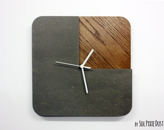 Three Quarters Concrete and Wood Wall Clock  - Modern Wall Clock