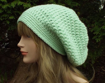 Mint Green Slouch Beanie, Womens Slouchy Crochet Hat, Oversized Slouchy Beanie, Chunky Hat, Baggy Beanie, Slouchy Hat Winter Hat Slouch Hat