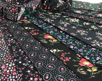 Jelly Roll Black Floral Quilt Strips, Floral Prints- 2.5 inch wide, 20 strips each roll - Supplied by ArtisticFun