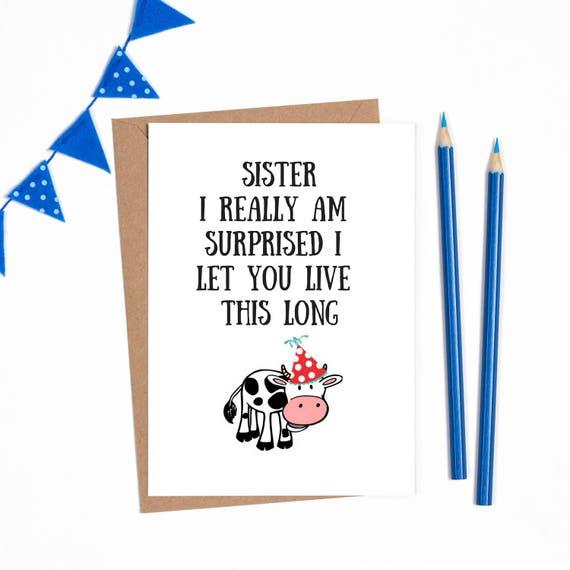 Bekend Verjaardag card zus verjaardag kaart voor zus grappige zus RJ04