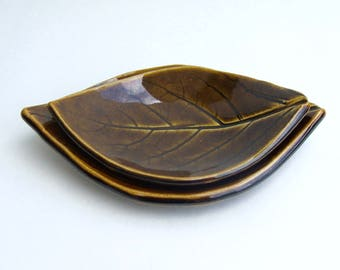 Hand Built Leaf Plates, Nested,  Persimmon, Turkish Amber