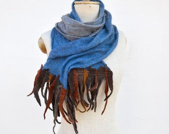 boho fringe scarf, ombre sky blue Angora wool felt shawl dread, hand dayed, pure soft wool, blue beige brown, openwork unique art to wear 33