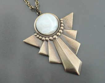 Art Deco Necklace - Mother of Pearl Necklace - Vintage Necklace - White Necklace - Geometric Necklace - Boho Necklace - handmade jewelry