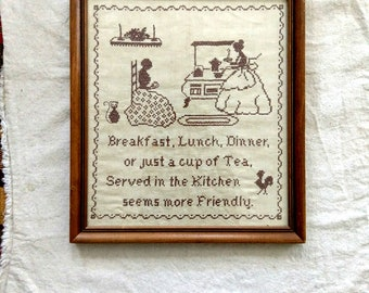 Vintage Art for Tea Lovers Crewel Embroidery Needlework For The Kitchen Farmhouse Kitchen Art Old Fashioned Kitchen Needlework Art