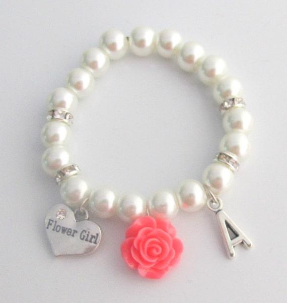 Flower Bracelet,Personalized Flower Girl Bracelet, Pink Rose flower Bracelet, Child's Pearl Bracelet,Flower Girl Gift, Free Shipping In USA,