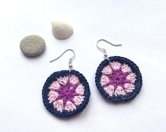 Wheel earrings crocheted cotton
